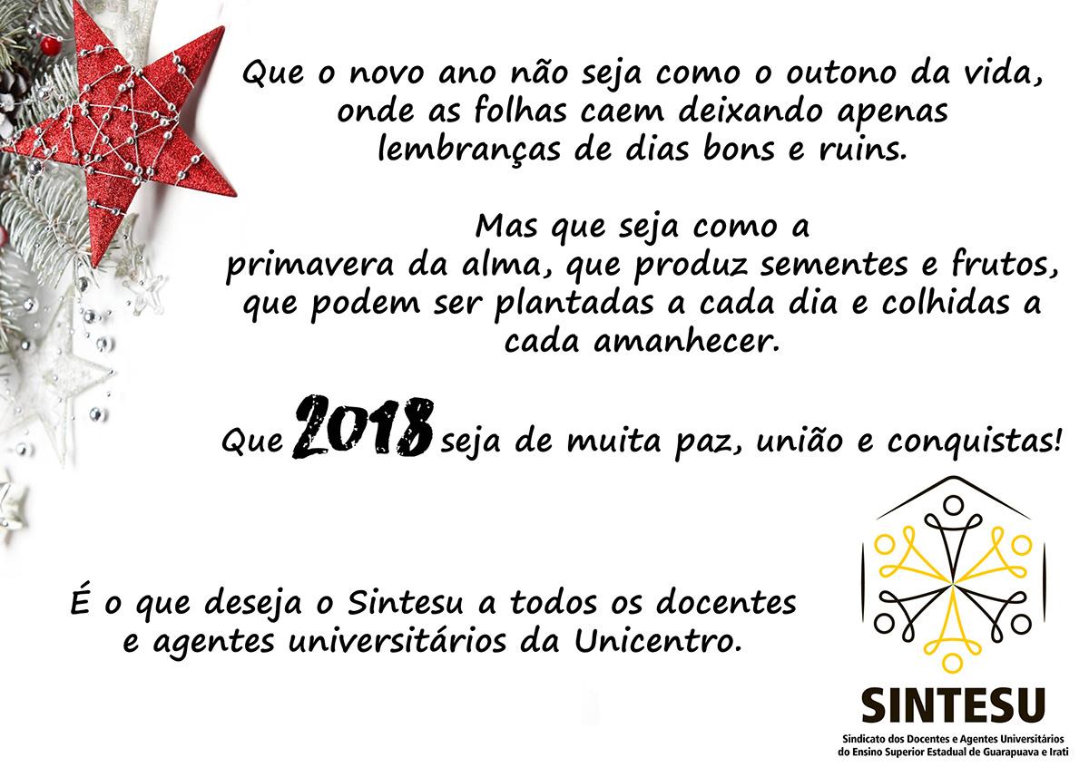 Mensagem de fim de ano aos docentes e agentes universitários da Unicentro.